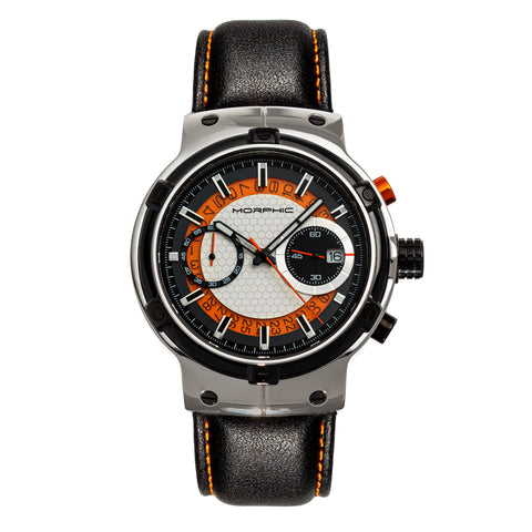 Morphic M91 Series Chronograph Leather-Band Watch w/Date - Silver/Orange - MPH9101 MPH9101