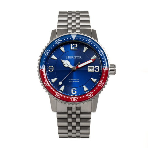 Heritor Automatic Dominic  Bracelet Watch w/Date - Red&Blue/Blue HERHR9806