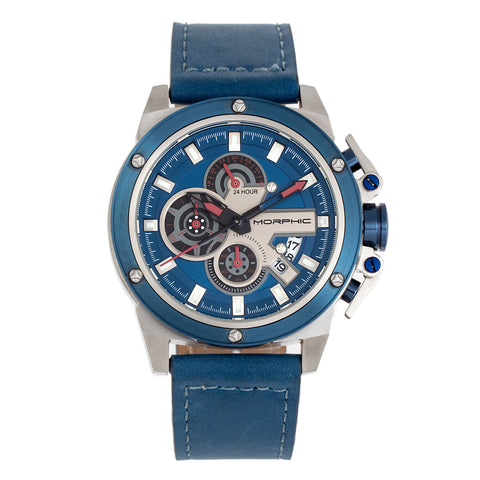 Morphic M81 Series Chronograph Leather-Band Watch w/Date - Blue/Silver  - MPH8102 MPH8102