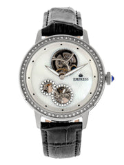 Empress Tatiana Automatic Semi-Skeleton Leather-Band Watch - Black