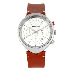 Breed Tempest Chronograph Leather-Band Watch w/Date - Brown/White