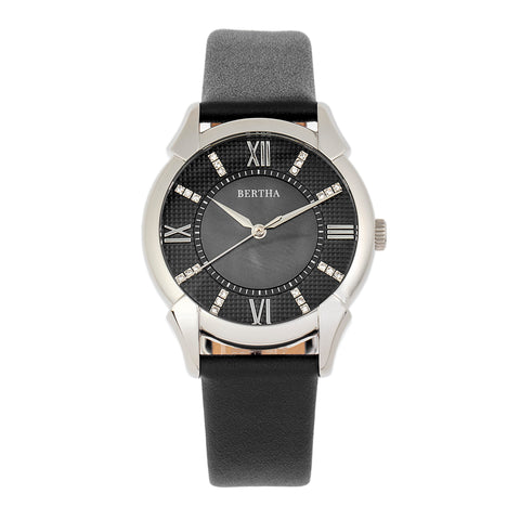 Bertha Ida Mother-of-Pearl Leather-Band Watch - Black - BTHBS1201 BTHBS1201
