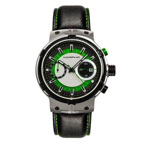 Morphic M91 Series Chronograph Leather-Band Watch w/Date - Silver/Green - MPH9102 MPH9102
