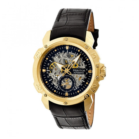 Heritor Automatic Conrad Skeleton Leather-Band Watch - Gold/Black HERHR2505