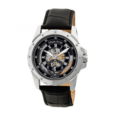 Heritor Automatic Armstrong Skeleton Leather-Band Watch - Silver/Black HERHR3402