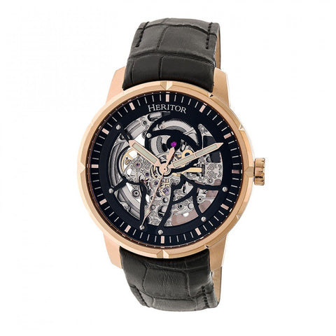 Heritor Automatic Ryder Skeleton Leather-Band Watch - Black/Rose Gold HERHR4606