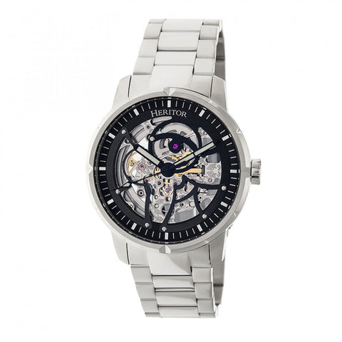 Heritor Automatic Ryder Skeleton Dial Bracelet Watch - Silver/Black HERHR4608