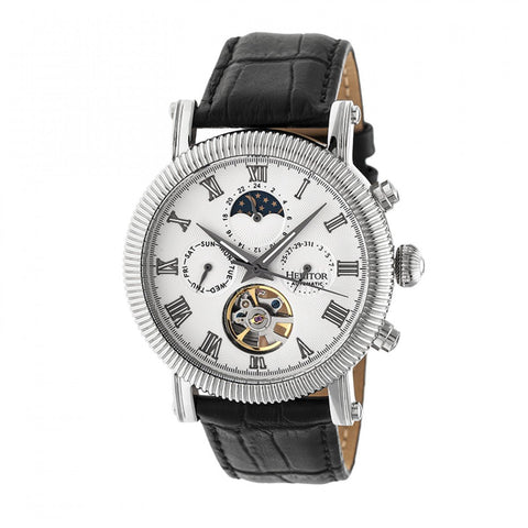 Heritor Automatic Winston Semi-Skeleton Leather-Band Watch - Silver/White HERHR5201