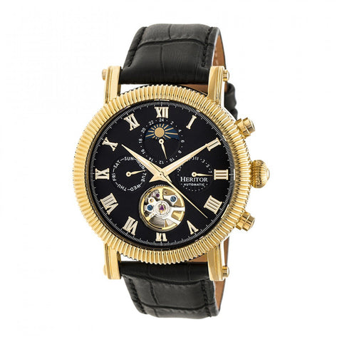 Heritor Automatic Winston Semi-Skeleton Leather-Band Watch - Gold/Black HERHR5204