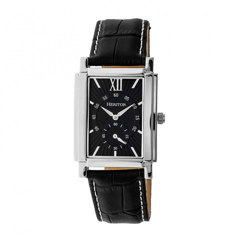 Heritor Automatic Frederick Leather-Band Watch - Silver/Black HERHR6102