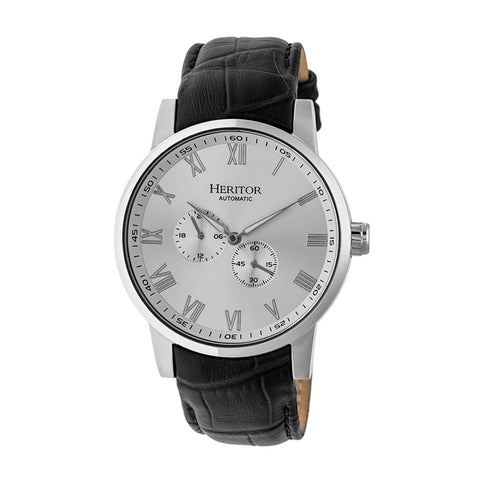 Heritor Automatic Romulus Leather-Band Watch - Silver HERHR6403