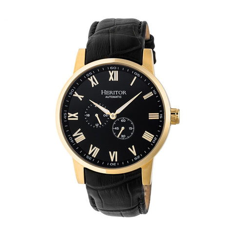 Heritor Automatic Romulus Leather-Band Watch - Gold/Black HERHR6405
