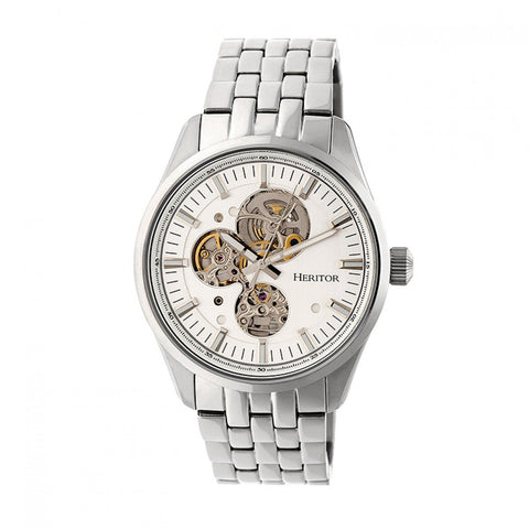 Heritor Automatic Stanley Semi-Skeleton Bracelet Watch - Silver HERHR6501