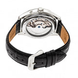 Heritor Automatic Sebastian Semi-Skeleton Leather-Band Watch- Silver/Black HERHR6902