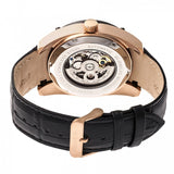 Heritor Automatic Daniels Semi-Skeleton Leather-Band Watch - Rose Gold/Black HERHR7406