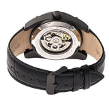 Heritor Automatic Daniels Semi-Skeleton Leather-Band Watch - Black HERHR7407