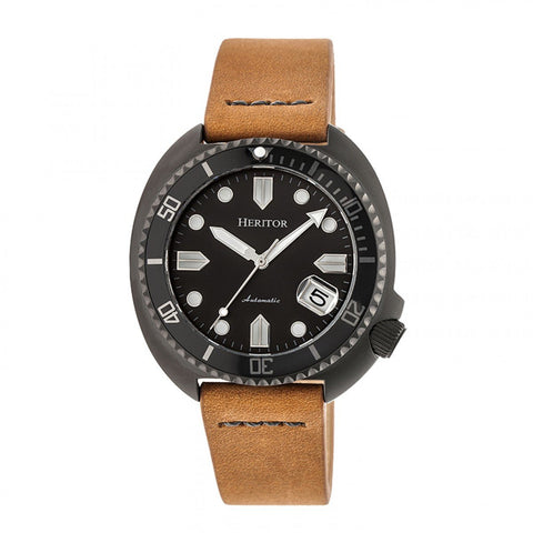 Heritor Automatic Morrison Leather-Band Watch w/Date - Black/Camel HERHR7608