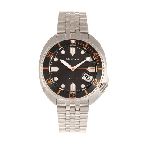 Heritor Automatic Morrison Bracelet Watch w/Date - Black/Orange HERHR7610
