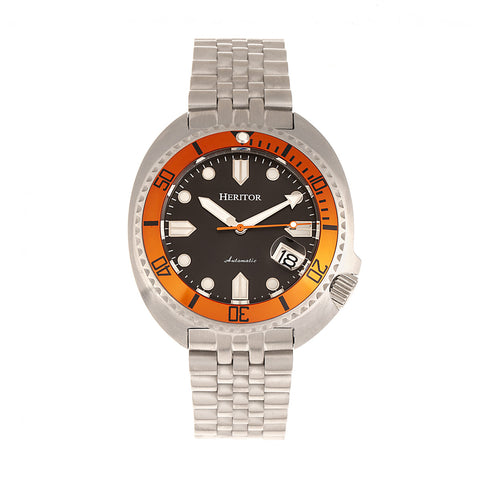 Heritor Automatic Morrison Bracelet Watch w/Date - Orange/Black HERHR7613