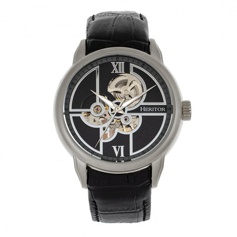 Heritor Automatic Sanford Semi-Skeleton Leather-Band Watch - Silver/Black HERHR8302