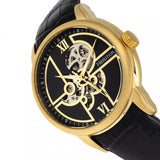 Heritor Automatic Sanford Semi-Skeleton Leather-Band Watch - Gold/Black HERHR8303