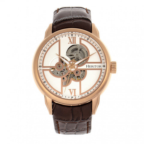 Heritor Automatic Sanford Semi-Skeleton Leather-Band Watch - Rose Gold/Brown HERHR8304