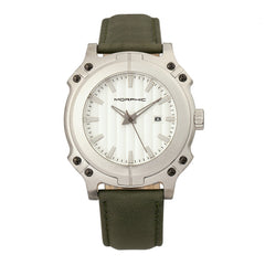 Morphic M68 Series Leather-Band Watch w/ Date - Silver/Olive