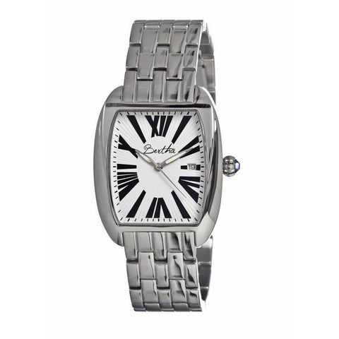 Bertha Anastasia Ladies Bracelet Watch w/Date - Silver/White BTHBR1301