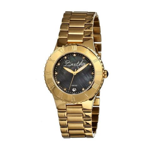 Bertha Millicent MOP Ladies Swiss Bracelet Watch - Gold/Black BTHBR2704