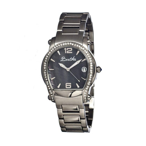 Bertha Fiona MOP Ladies Bracelet Watch w/ Date - Silver/Black BTHBR2902