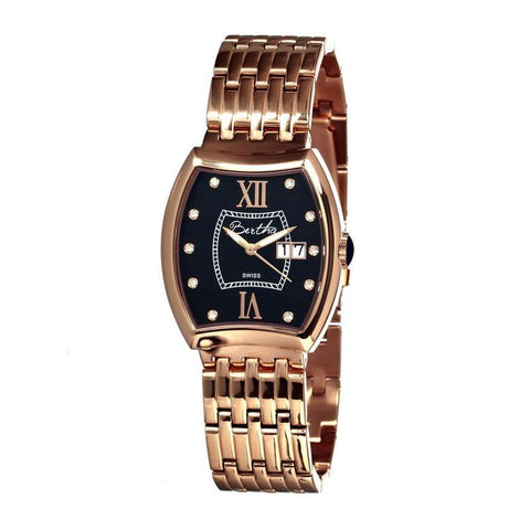 Bertha Charlotte Ladies Swiss Bracelet Watch - Rose Gold/Black BTHBR3106