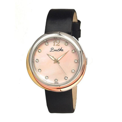 Bertha Jean MOP Leather-Band Ladies Watch - Light Pink BTHBR3503