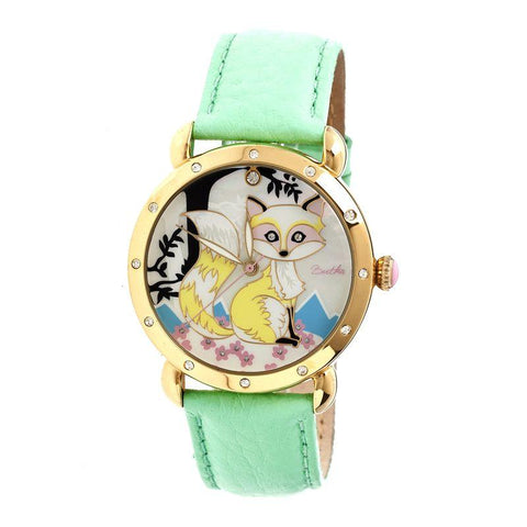 Bertha Vivica MOP Leather-Band Ladies Watch - Gold/Mint BTHBR3702