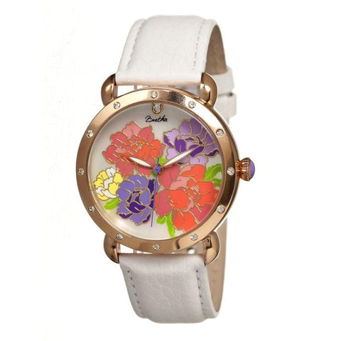 Bertha Angela MOP Leather-Band Ladies Watch - Rose Gold/White BTHBR3603