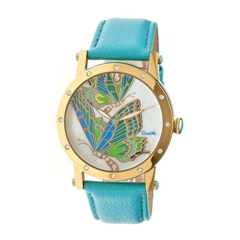 Bertha Isabella MOP Leather-Band Ladies Watch - Gold/Turquoise BTHBR4302