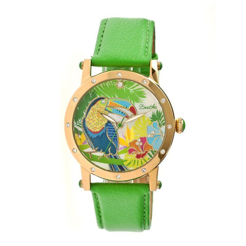 Bertha Gisele MOP Leather-Band Ladies Watch - Gold/Green BTHBR4403