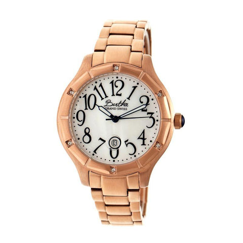Bertha Jaclyn MOP Ladies Swiss Bracelet Watch - Rose Gold/White BTHBR4805
