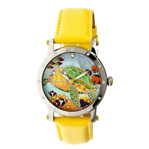 Bertha Chelsea MOP Leather-Band Ladies Watch - Silver/Yellow BTHBR4902
