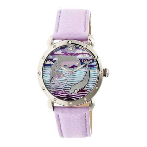 Bertha Estella MOP Leather-Band Ladies Watch - Silver/Lavender BTHBR5103