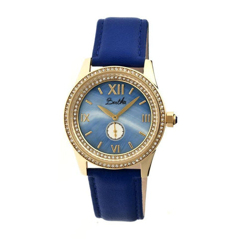 Bertha Emma MOP Leather-Band Ladies Watch - Gold/Blue BTHBR5204