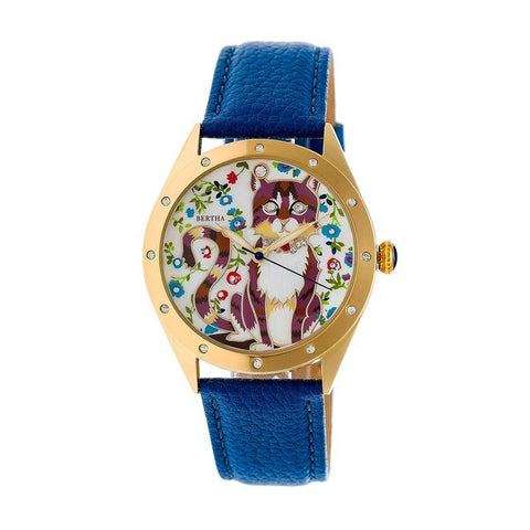 Bertha Selina Mother-of-Pearl Leather-Band Watch - Gold/Blue BTHBR6105