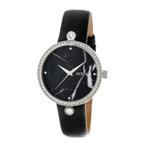 Bertha Frances Marble Dial Leather-Band Watch - Black BTHBR6401