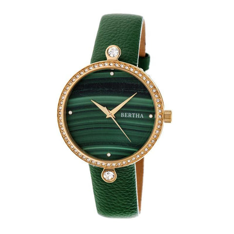 Bertha Frances Marble Dial Leather-Band Watch - Green BTHBR6403