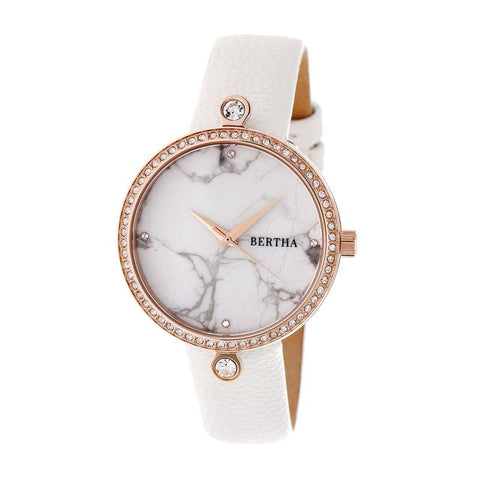 Bertha Frances Marble Dial Leather-Band Watch - White BTHBR6404