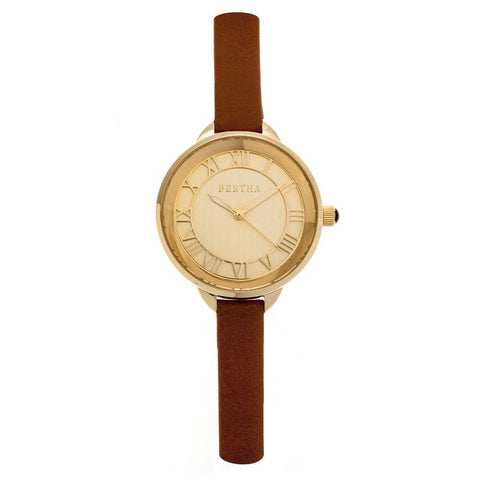 Bertha Madison Sunray Dial Leather-Band Watch - Camel/Gold BTHBR6705