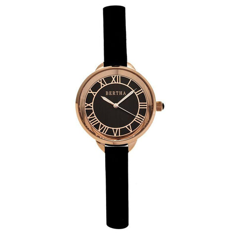 Bertha Madison Sunray Dial Leather-Band Watch - Black/Rose Gold BTHBR6707