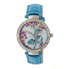 Bertha Mia Mother-Of-Pearl Leather-Band Watch - Blue