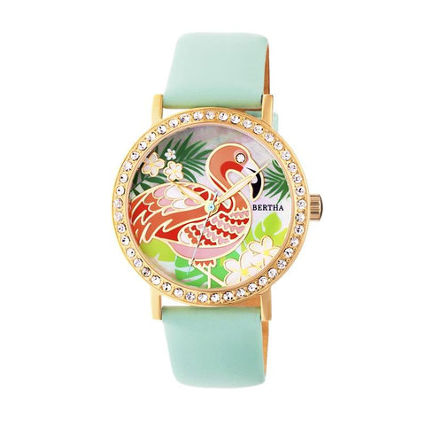 Bertha Luna Mother-Of-Pearl Leather-Band Watch - Mint BTHBR7704