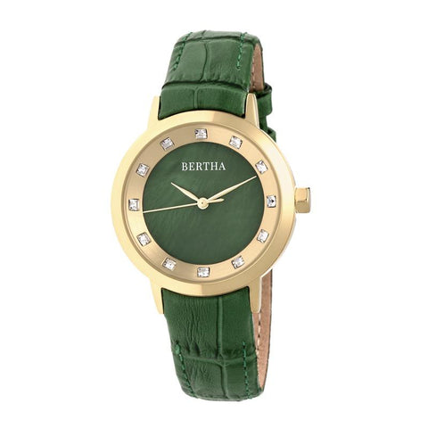 Bertha Cecelia Leather-Band Watch - Green BTHBR7503