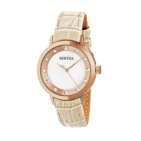 Bertha Cecelia Leather-Band Watch - Cream BTHBR7504